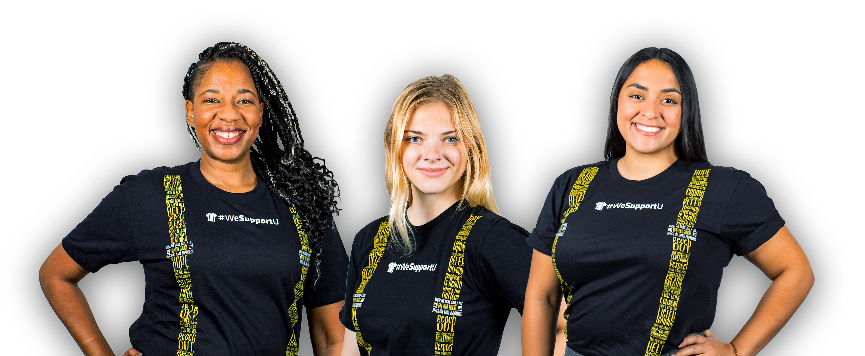 image of three diverse ethnicity female wearing wesupportu suspenders shirt